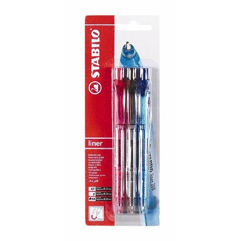 Stabilo Pen 308 Medium 3 Pack Assorted