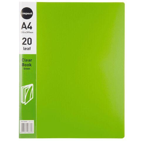 Impact Clear Book 20 Leaf Green A4