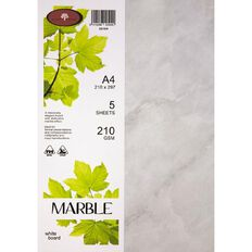 Marble Paper 210gsm 5 Pack White A4