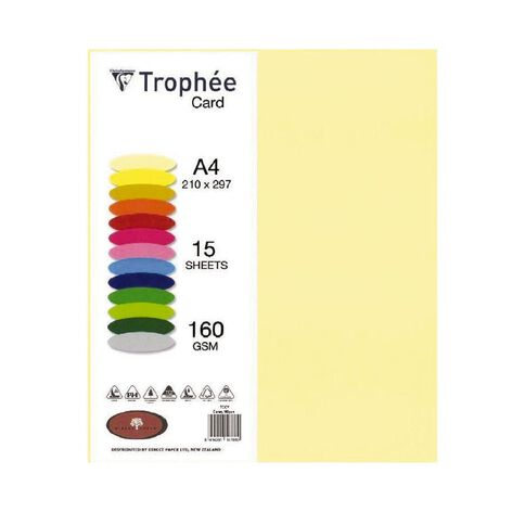 Trophee Card 160gsm 15 Pack Canary Yellow A4