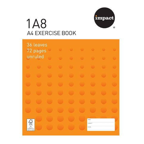 Exercise Book 1A8 Blank 36 Leaf Unruled 297 x 210mm Orange A4