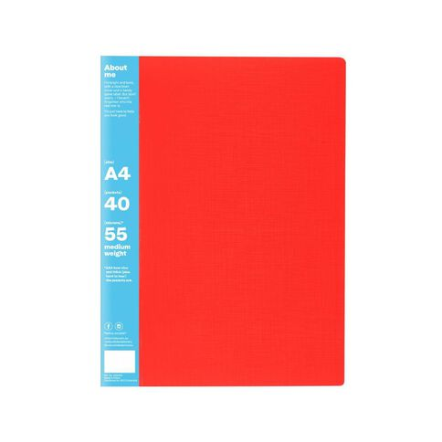 ColourHide Display Book Non-Refillable 40 Pocket Red A4