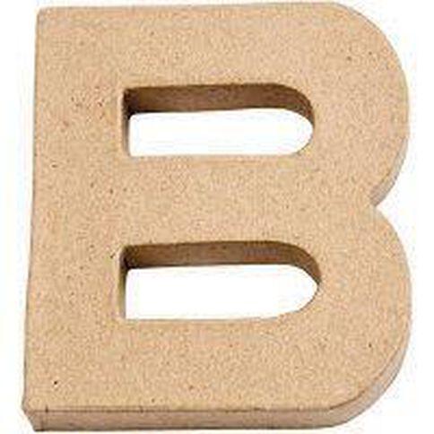 Paper Mache Alphabet Small Symbol B 10cm Brown