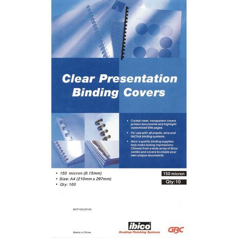Ibico Binding Cover Transparent 150 Micron 100 Pack Clear