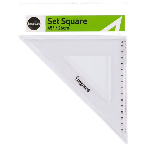 Impact Set Square 26cm 45 Degrees Clear