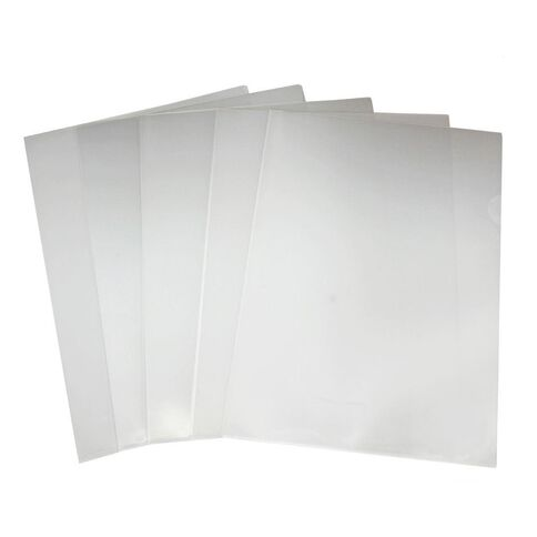 Clear L/Shaped Pocket 10 Pack White A4