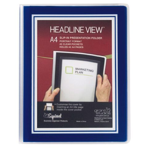 Headline View Clear Book Overlay 20 Leaf Blue A4