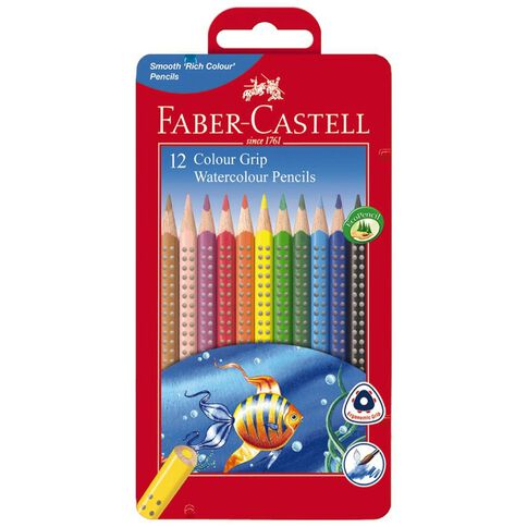 Faber-Castell Water Colour Grip Pencils in Tin 12 Piece