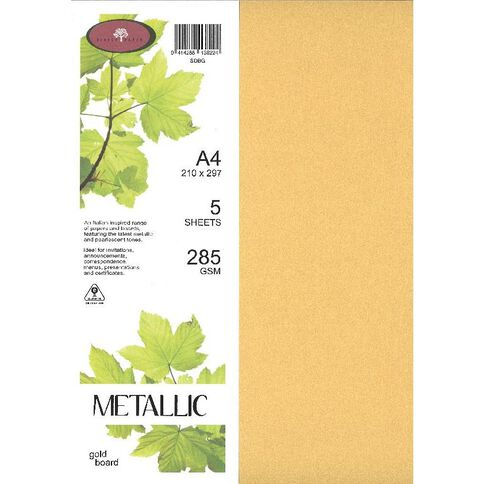 Metallic Board 285gsm 5 Pack Gold A4