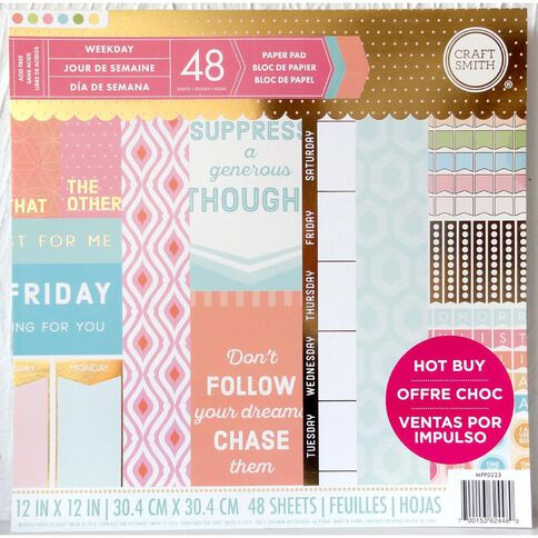 Craft Smith Paper Pad Weekday 12in x 12in 48 Sheets