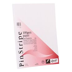 Quill Bond Paper 100gsm 100 Pack Pinstripe White A4