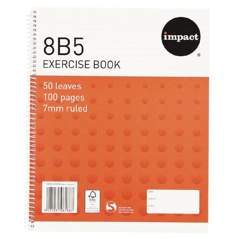 Impact Exercise Book 8B5 7mm Ruled Spiral 50 Leaf