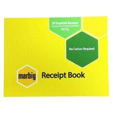 Marbig Receipt Book 45 Duplicate 50 Leaf Yellow
