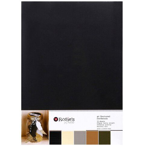 Rosie's Studio Value Cardstock Textured 216g 30 Pack Neutral White A4
