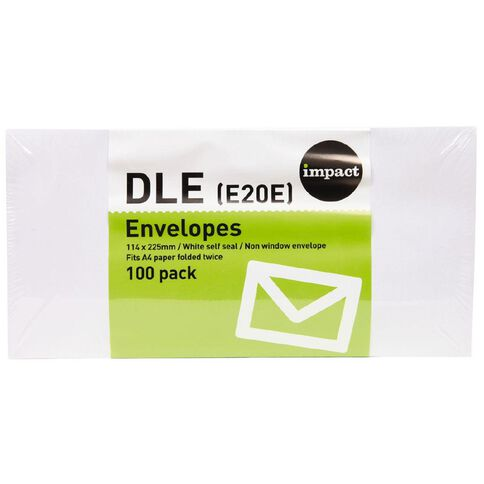 Impact Envelope Dle Seal 100 Pack White