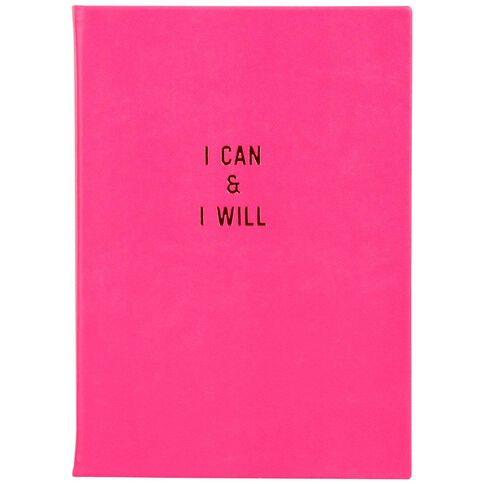 Paper Lane Inspirational Faux Leather Notebook 90 Leaves Magenta A5