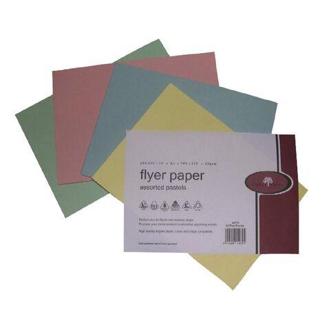 Flyer Paper 80Gsm 200 Pack Pastels Assorted A5