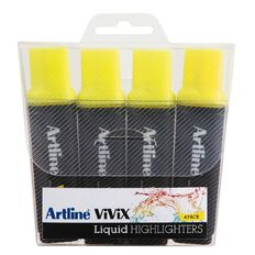 Artline Vivix Highlighters 4 Pack Yellow