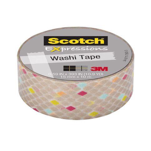 Scotch Washi Craft Tape 15mm x 10m Diamonds Gold