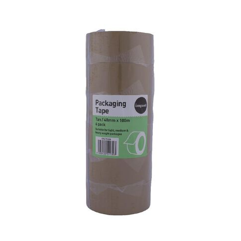 Impact Packaging Tape PP Rubber 48mm x 100m 6 Pack Tan