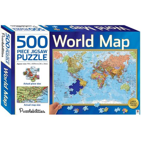 Hinkler Jigsaw Puzzle 500 Piece World Map Multi-Coloured