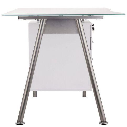 Workspace 3 Drawer Glass Desk White/Silver