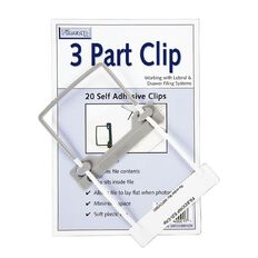 Filecorp 3 Part Clip Self Adhesive 20 Pack White