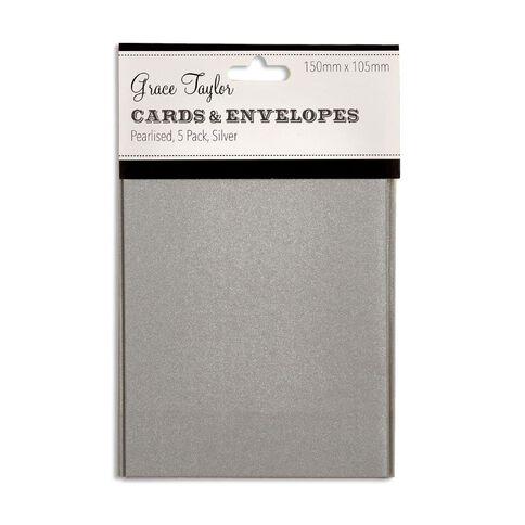 Grace Taylor Cards & Envelopes 15 x 10cm 5 Pack Pearl Silver