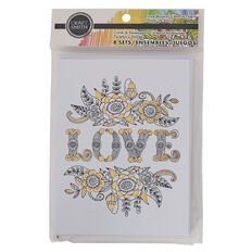 Craft Smith Colouring Card & Envelopes Love Foiled Black & White White