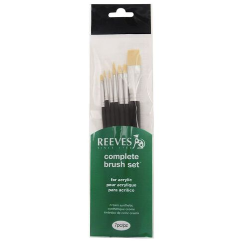 Reeves Acrylic Brush Short Handle 7 Pack