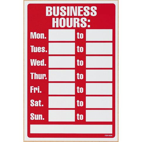 Headline Business Hours Sign Red/White