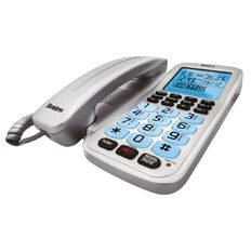 Uniden FP1220 Corded Phone with Speakerphone and Ice Blue Backlight Grey