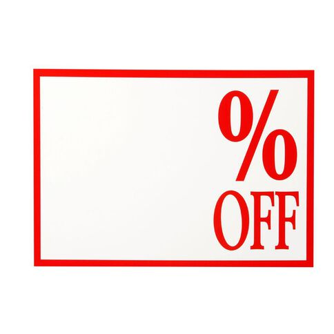 Quikstik Sign % Off 10 Pack Red/White A4