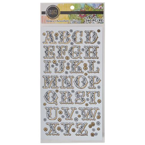 Craft Smith Colouring Stickers Alphabet White