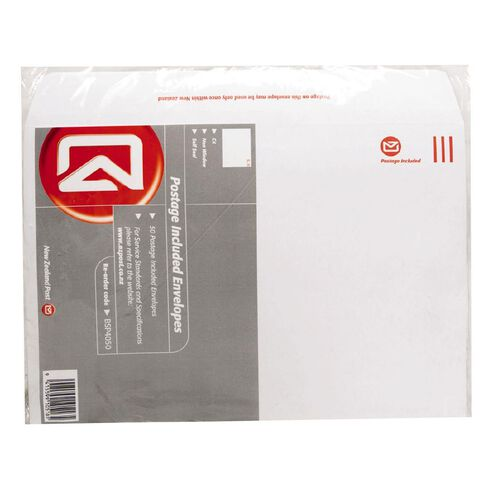 C4 Pack New Zealand Post Envelope Prepaid Non Window 50 Pack White