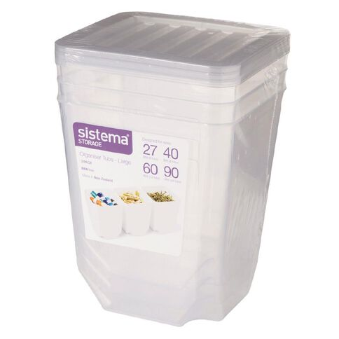Sistema Organiser Tubs Large 3 Pack Clear