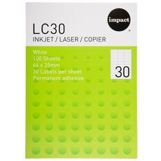 Impact Labels 100 Sheets A4/30 White