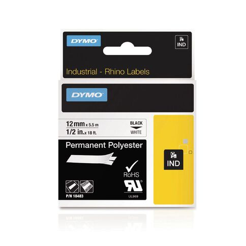Dymo Industrial Permanent Polyester Labels 12mm Black/White