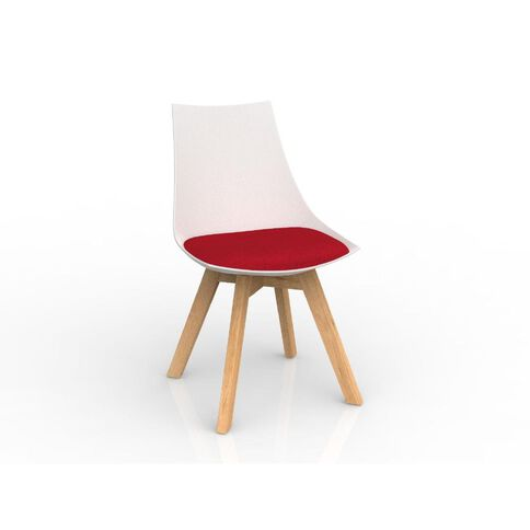 Luna Oak Base Chair White Chilli Red