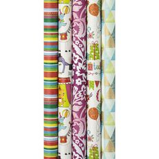Recycled Paper Gift Wrap 25 Rolls 5 Assorted Designs