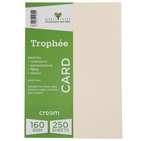 Trophee Card 160gsm 250 Pack Cream A4