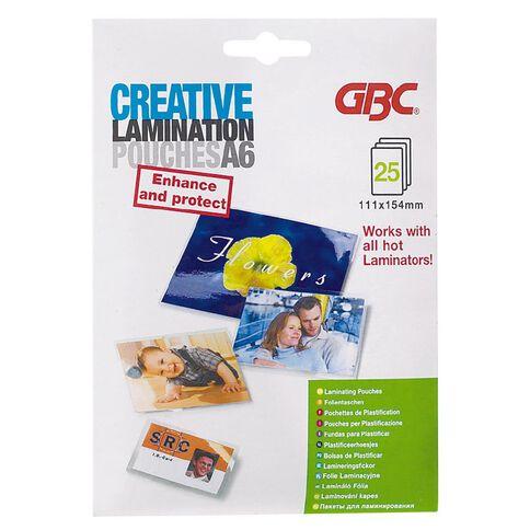 GBC Creative Laminating Pouch A6 25 Pack Clear