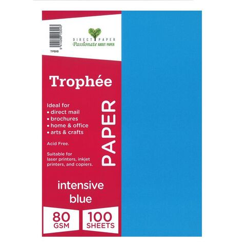 Trophee Paper 80gsm 100 Pack Intensive Blue A4