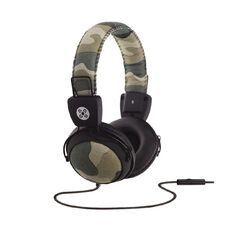Moki Camo In-Line Mic Headphones Green