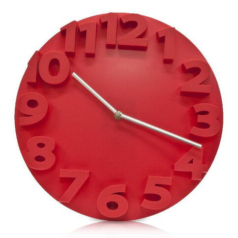 Effects Boston Wall Clock Red Red