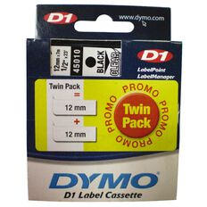 Dymo Label Tape D1 Twin 12Mm X 7M Black On Clear Black
