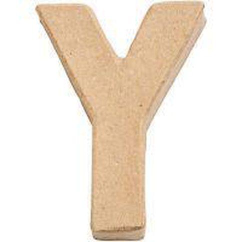 Paper Mache Alphabet Small Symbol Y 10cm Brown