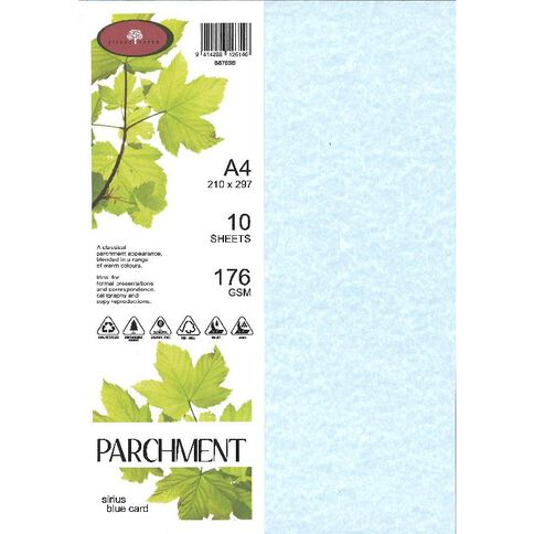 Parchment Card 176gsm 10 Pack Sirius Blue A4