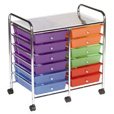 Jasper J Chrome Trolley 12 Drawer Brights Multi-Coloured