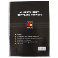 GBP Stationery Copysafe Pockets Heavy Duty PVC 5 Pack Clear A3